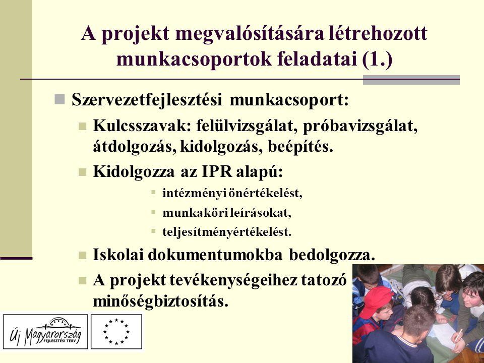 A projekt megvalósítására létrehozott munkacsoportok feladatai (1.) Szervezetfejlesztési munkacsoport: Kulcsszavak: felülvizsgálat, próbavizsgálat, átdolgozás, kidolgozás, beépítés.