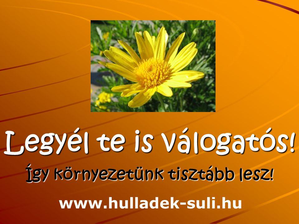 Legyél te is válogatós! Így környezetünk tisztább lesz! www.hulladek-suli.hu
