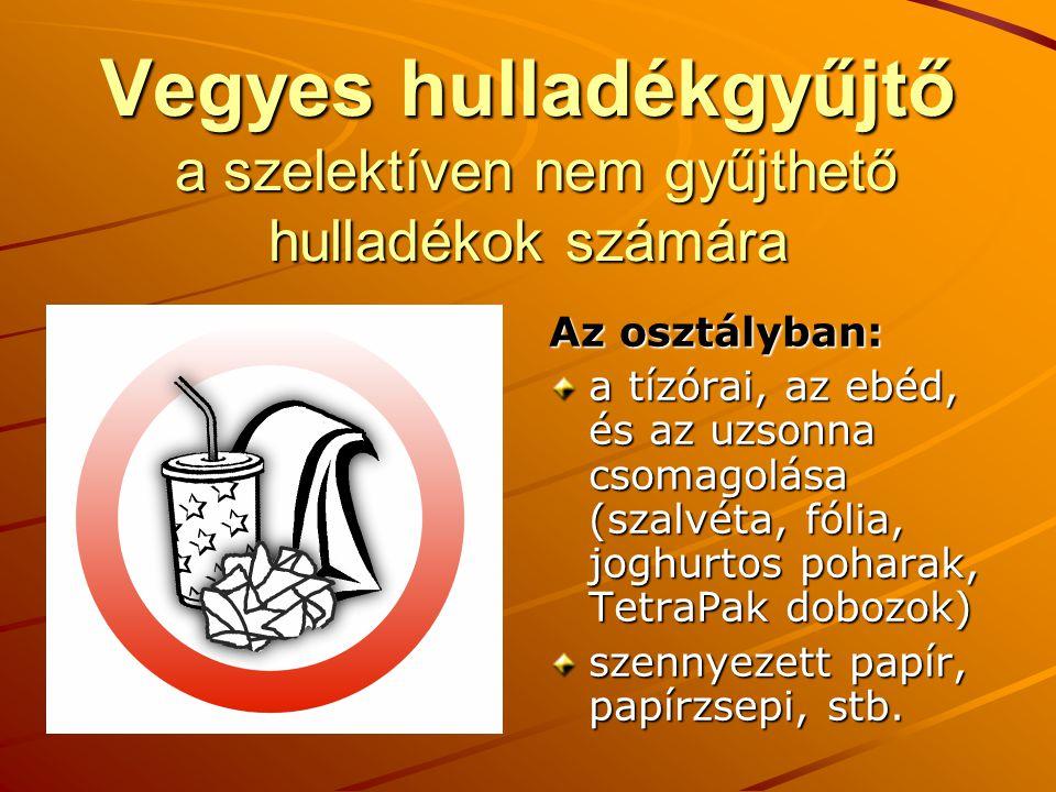 Vegyes hulladékgyűjtő a szelektíven nem gyűjthető hulladékok számára Az osztályban: a tízórai, az ebéd, és az uzsonna csomagolása (szalvéta, fólia, joghurtos poharak, TetraPak dobozok) szennyezett papír, papírzsepi, stb.