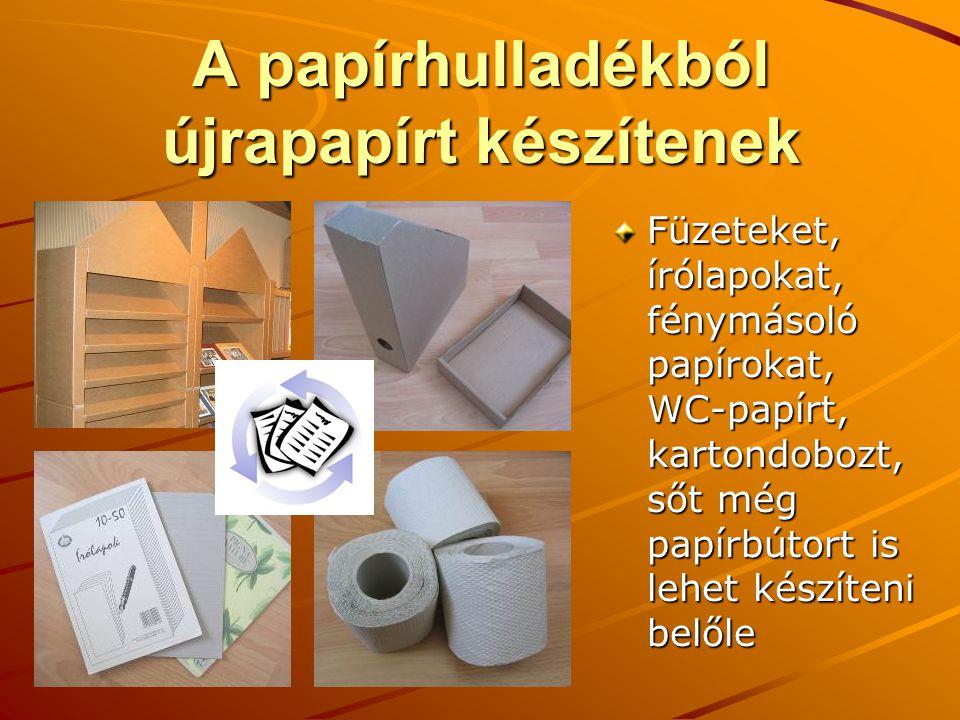 A papírhulladékból újrapapírt készítenek Füzeteket, írólapokat, fénymásoló papírokat, WC-papírt, kartondobozt, sőt még papírbútort is lehet készíteni belőle