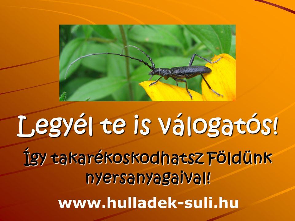 Legyél te is válogatós! Így takarékoskodhatsz Földünk nyersanyagaival! www.hulladek-suli.hu