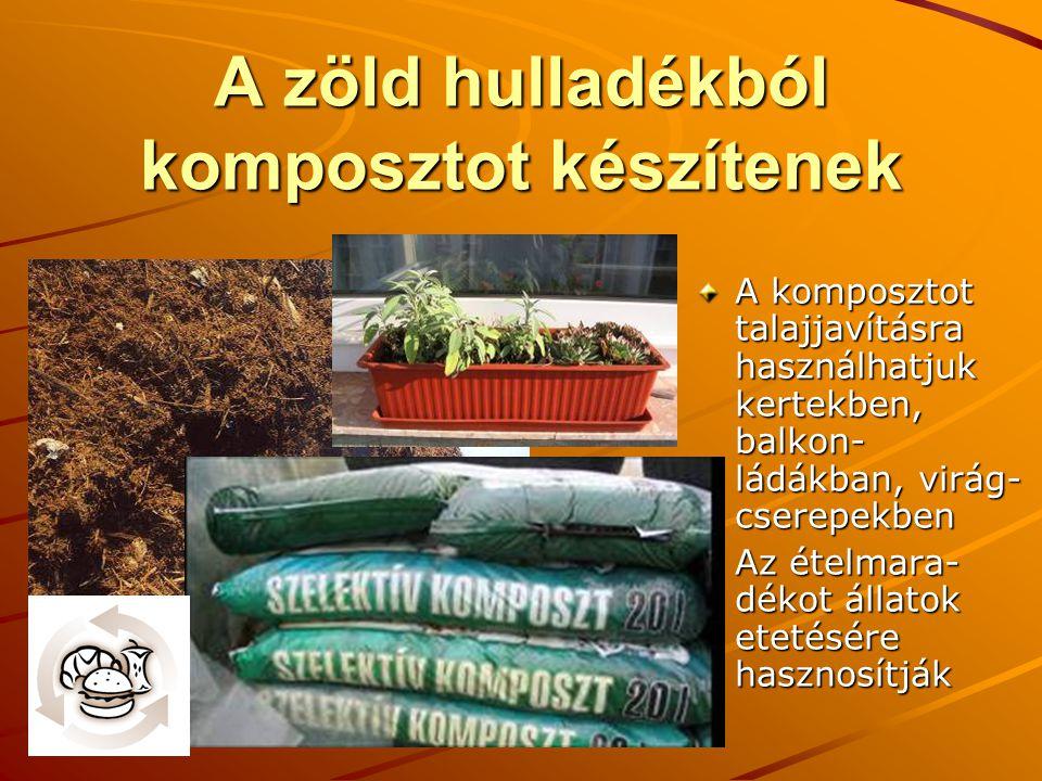 A zöld hulladékból komposztot készítenek A komposztot talajjavításra használhatjuk kertekben, balkon- ládákban, virág- cserepekben Az ételmara- dékot állatok etetésére hasznosítják