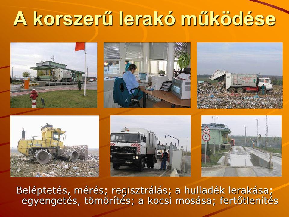A korszerű lerakó működése Beléptetés, mérés; regisztrálás; a hulladék lerakása; egyengetés, tömörítés; a kocsi mosása; fertőtlenítés