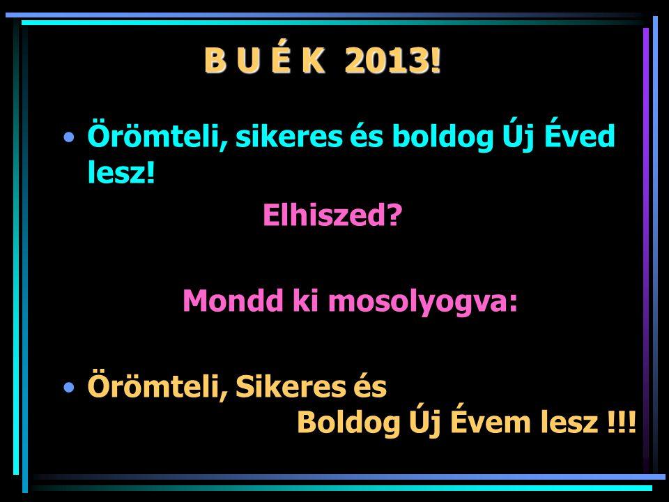 B U É K 2013. Örömteli, sikeres és boldog Új Éved lesz.