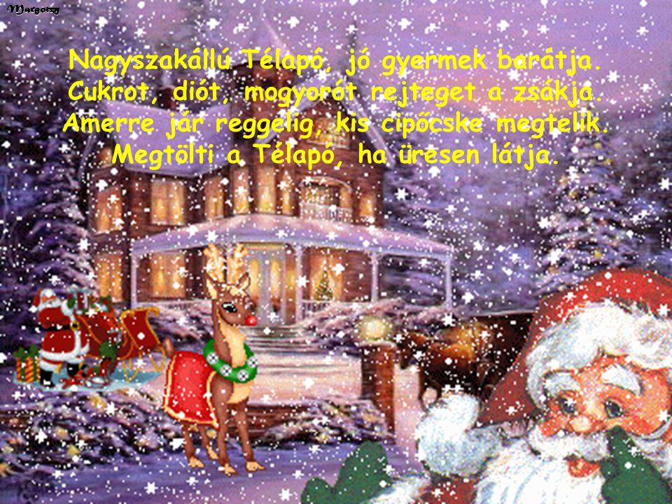Margotzy Hull a pelyhes fehér hó, jöjj el kedves Télapó! Minden gyerek várva vár, vidám ének hangja száll. Van zsákodban minden jó, piros alma, mogyor