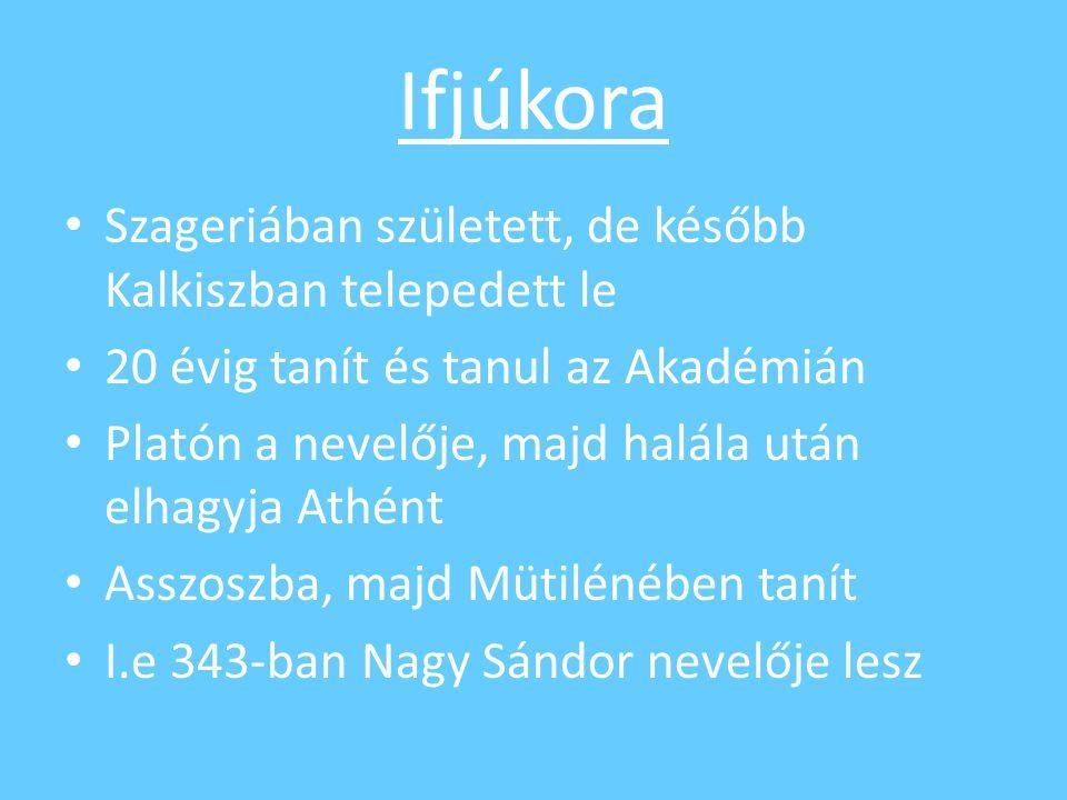 Ifjúkora Szageriában született, de később Kalkiszban telepedett le 20 évig tanít és tanul az Akadémián Platón a nevelője, majd halála után elhagyja At