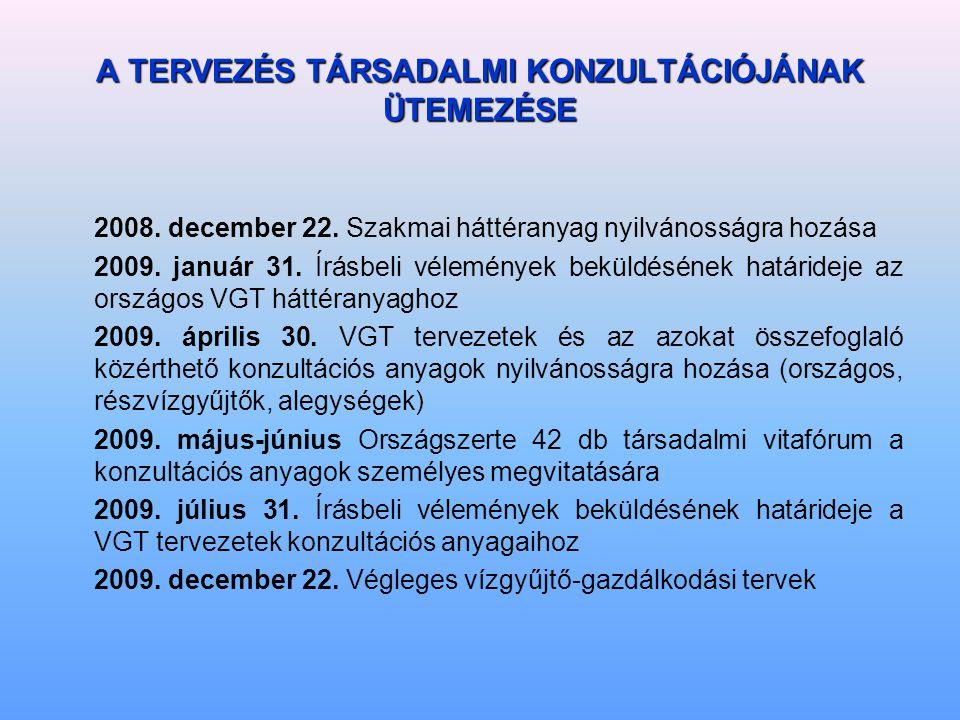A TERVEZÉS TÁRSADALMI KONZULTÁCIÓJÁNAK ÜTEMEZÉSE 2008.