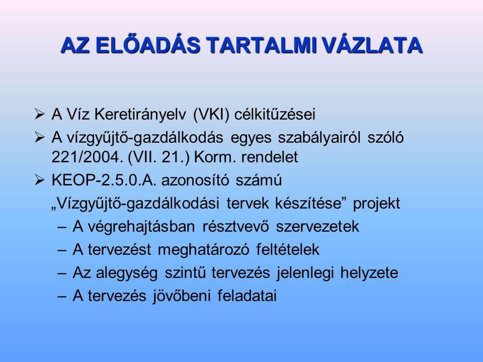 AZ ELŐADÁS TARTALMI VÁZLATA  A Víz Keretirányelv (VKI) célkitűzései  A vízgyűjtő-gazdálkodás egyes szabályairól szóló 221/2004.