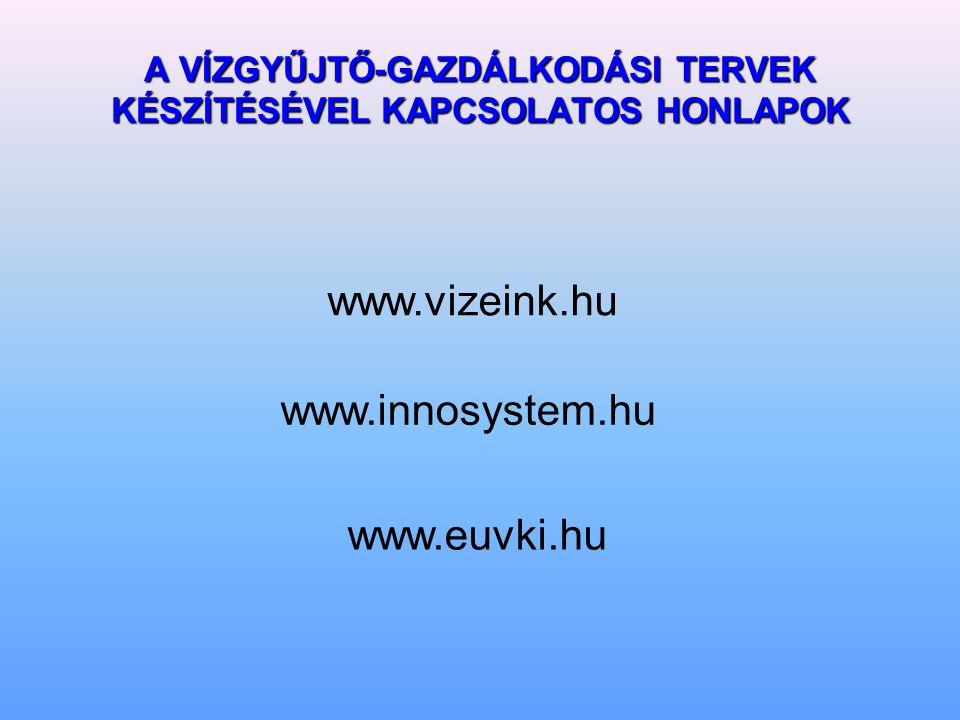 A VÍZGYŰJTŐ-GAZDÁLKODÁSI TERVEK KÉSZÍTÉSÉVEL KAPCSOLATOS HONLAPOK www.vizeink.hu www.innosystem.hu www.euvki.hu