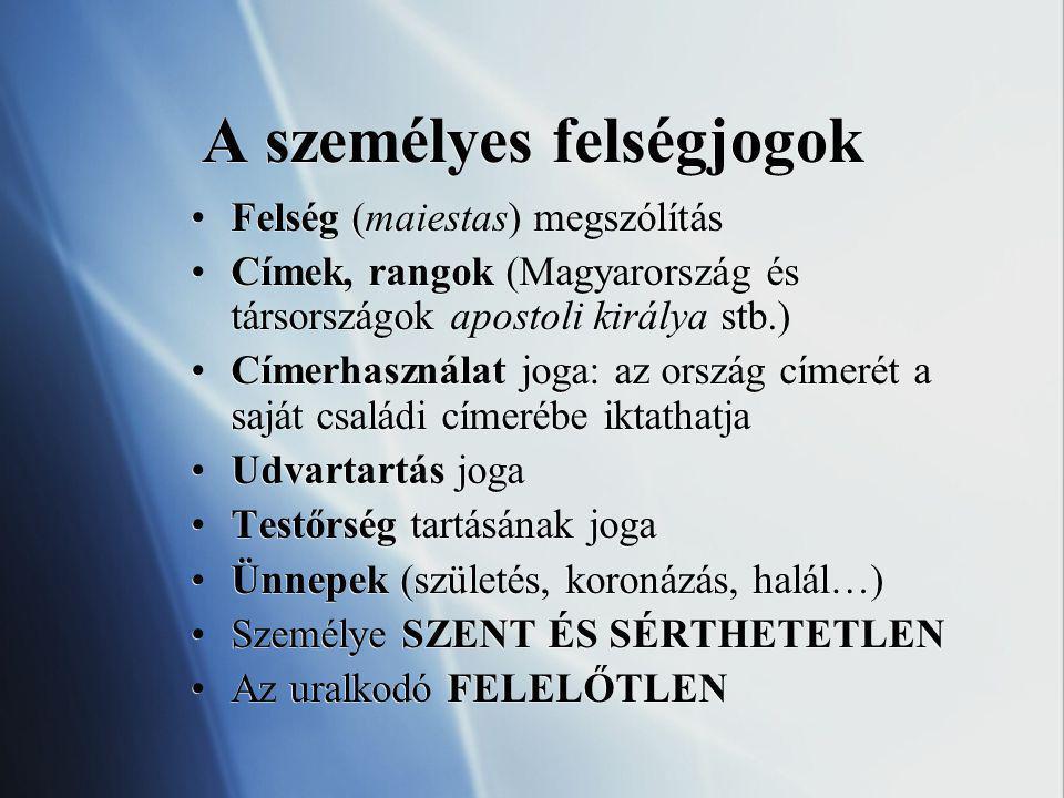 A személyes felségjogok Felség (maiestas) megszólítás Címek, rangok (Magyarország és társországok apostoli királya stb.) Címerhasználat joga: az orszá