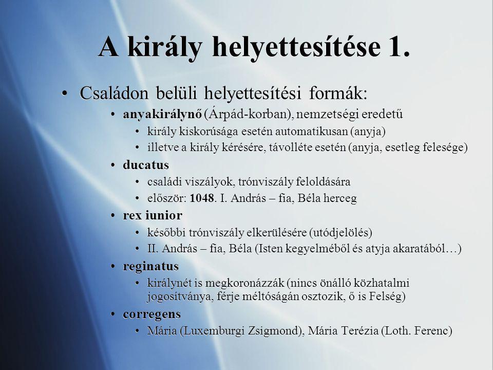 A király helyettesítése 1. Családon belüli helyettesítési formák: anyakirálynő (Árpád-korban), nemzetségi eredetű király kiskorúsága esetén automatiku