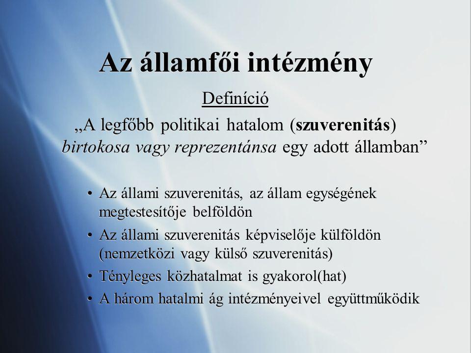 Államfő és államforma /köztársaság vagy monarchia/ – A monarchia (pl.