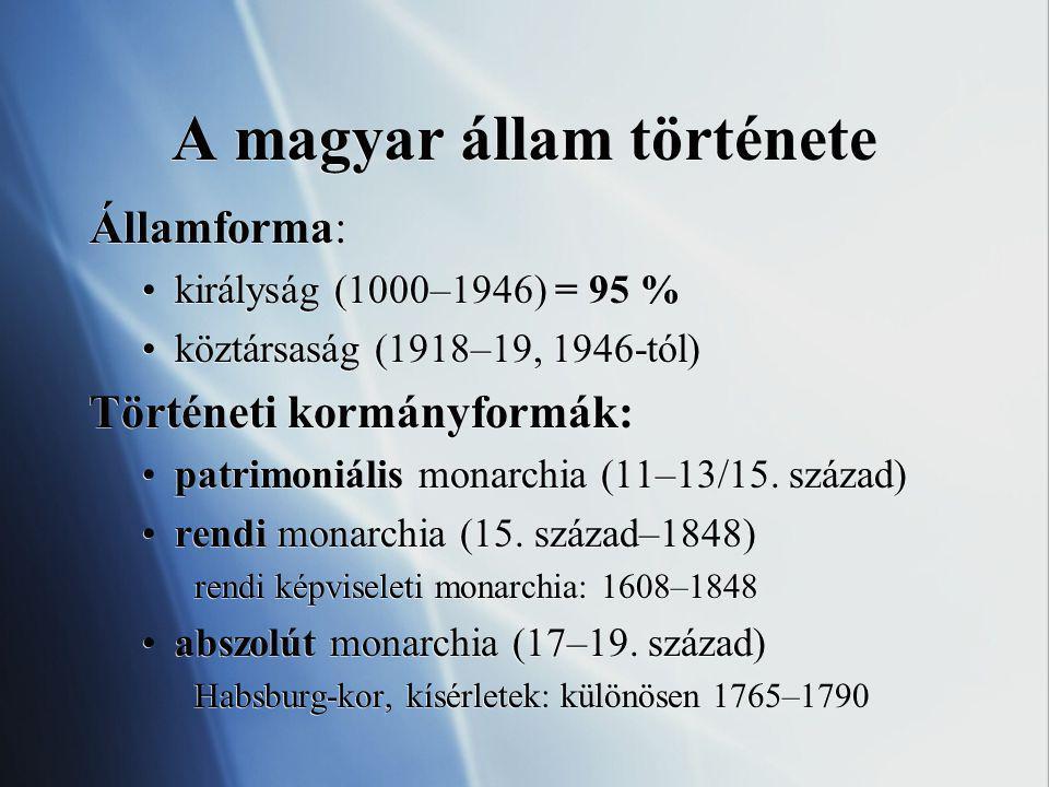 A magyar állam története Államforma: királyság (1000–1946) = 95 % köztársaság (1918–19, 1946-tól) Történeti kormányformák: patrimoniális monarchia (11–13/15.