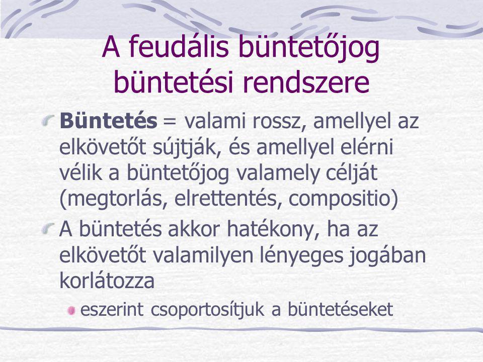 A feudális büntetőjog büntetési rendszere (folyt.) Büntetések a feudális korban vagyoni büntetések szabadságvesztés testi büntetések megszégyenítő büntetések halálbüntetés(ek) Ma a fentiek közül már csak az első két büntetési nem létezik