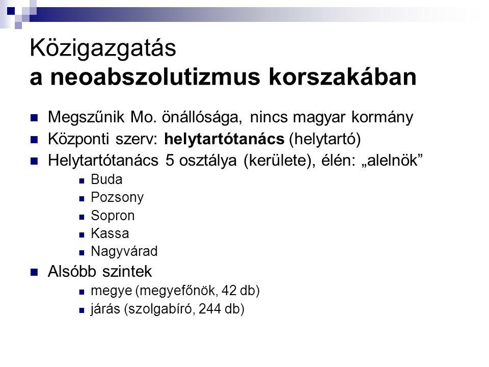 Közigazgatás a neoabszolutizmus korszakában Megszűnik Mo. önállósága, nincs magyar kormány Központi szerv: helytartótanács (helytartó) Helytartótanács