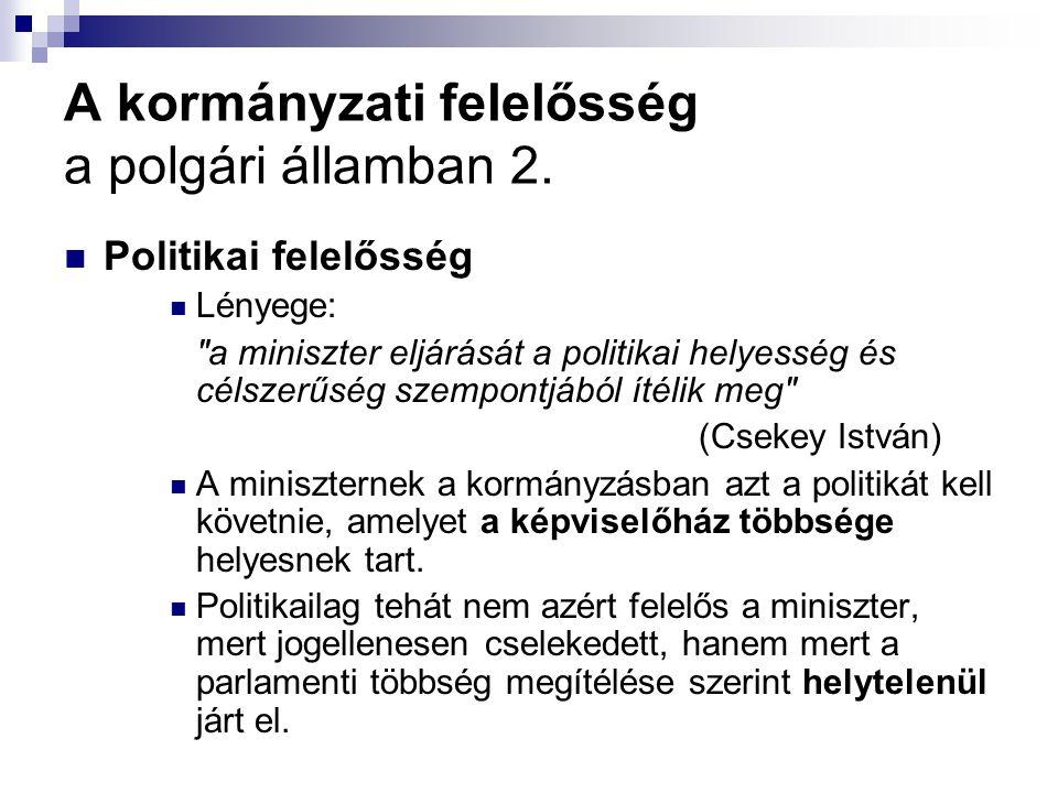 A kormányzati felelősség a polgári államban 2. Politikai felelősség Lényege: