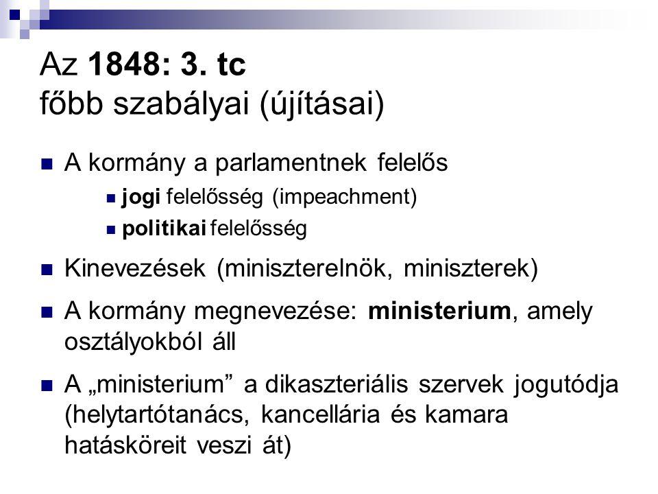 Az 1848: 3. tc főbb szabályai (újításai) A kormány a parlamentnek felelős jogi felelősség (impeachment) politikai felelősség Kinevezések (minisztereln
