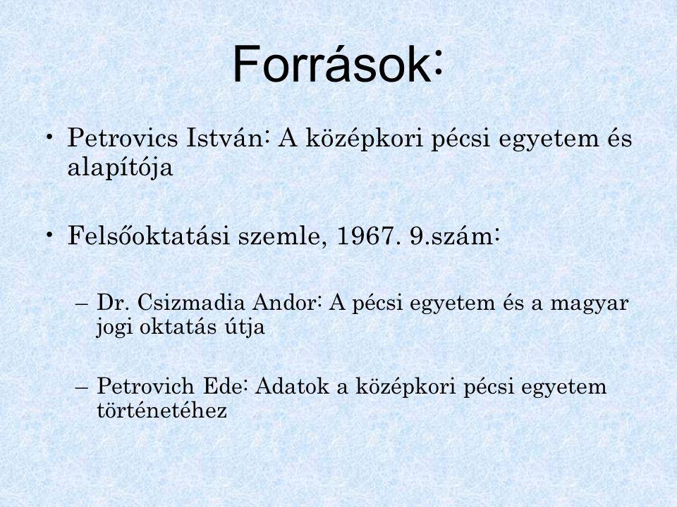 Források : Petrovics István: A középkori pécsi egyetem és alapítója Felsőoktatási szemle, 1967. 9.szám: –Dr. Csizmadia Andor: A pécsi egyetem és a mag