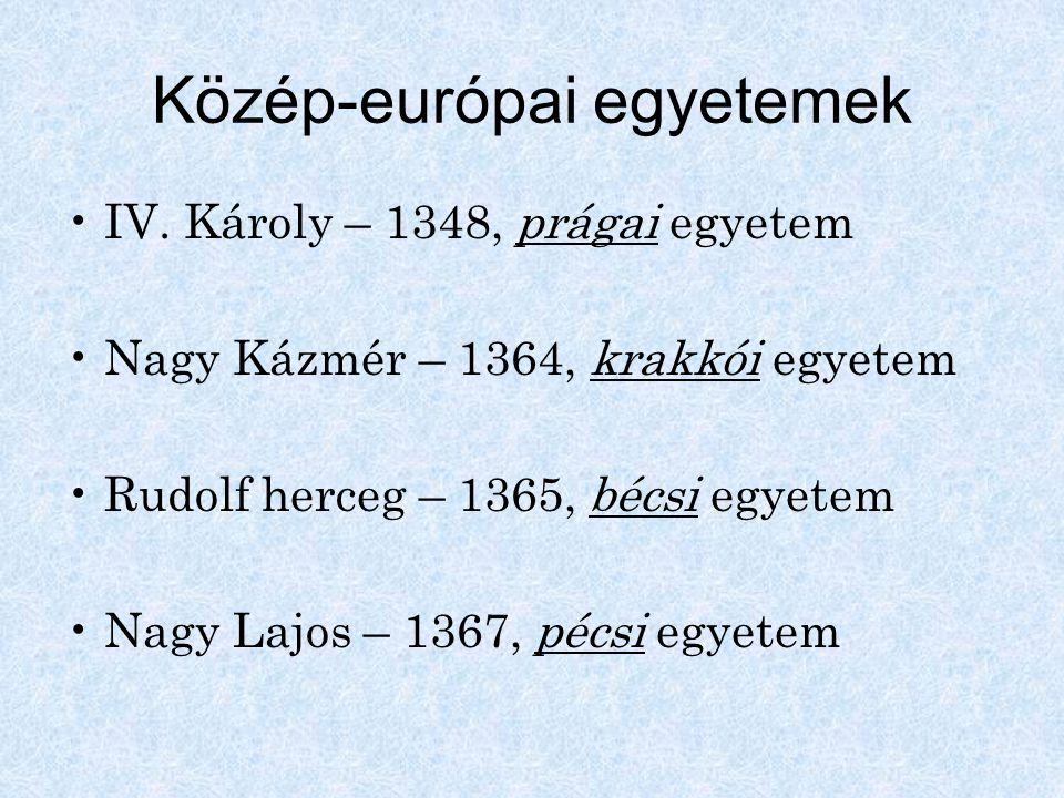 Közép-európai egyetemek IV. Károly – 1348, prágai egyetem Nagy Kázmér – 1364, krakkói egyetem Rudolf herceg – 1365, bécsi egyetem Nagy Lajos – 1367, p