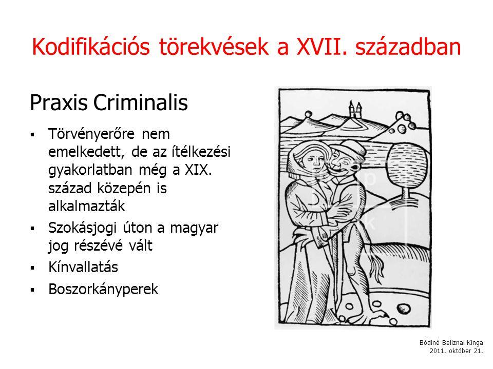 Kodifikációs törekvések a XVII.