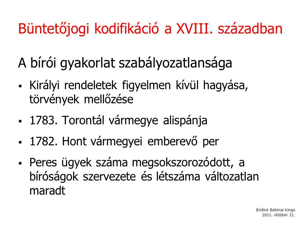Büntetőjogi kodifikáció a XVIII.