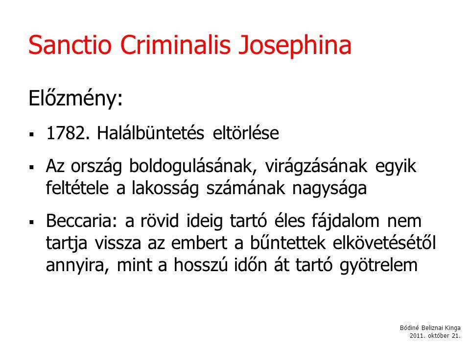 Sanctio Criminalis Josephina Előzmény:  1782.