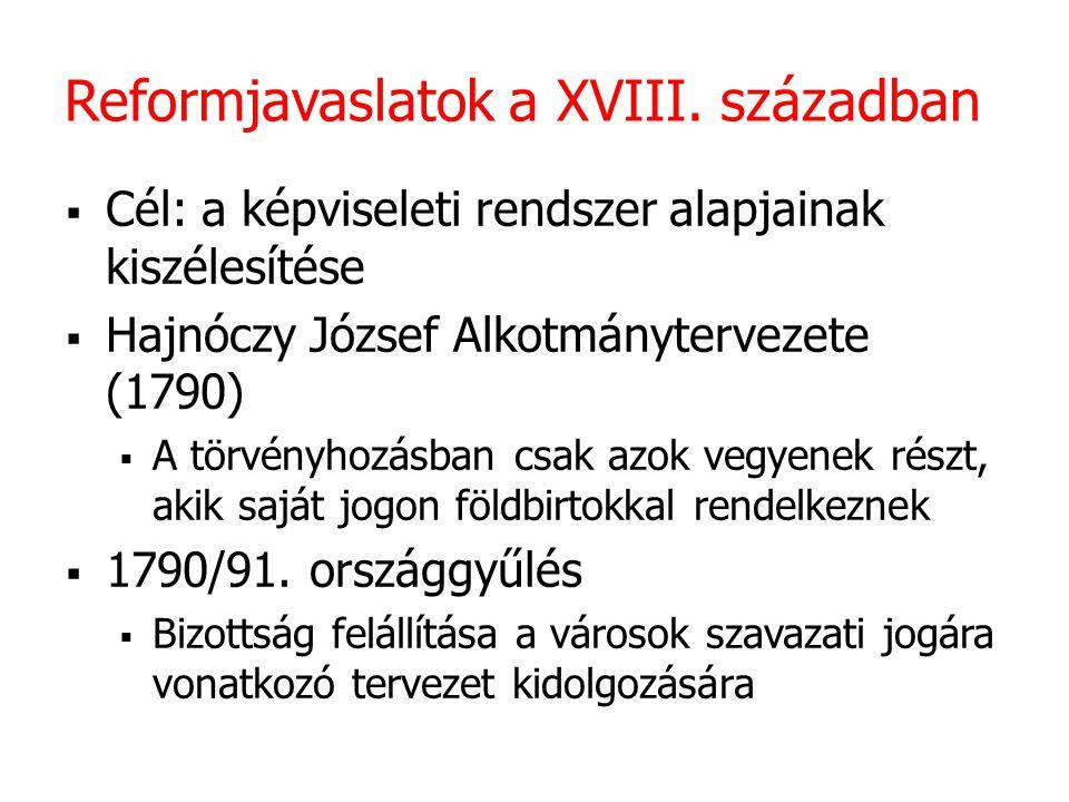 Reformjavaslatok a XVIII. században  Cél: a képviseleti rendszer alapjainak kiszélesítése  Hajnóczy József Alkotmánytervezete (1790)  A törvényhozá
