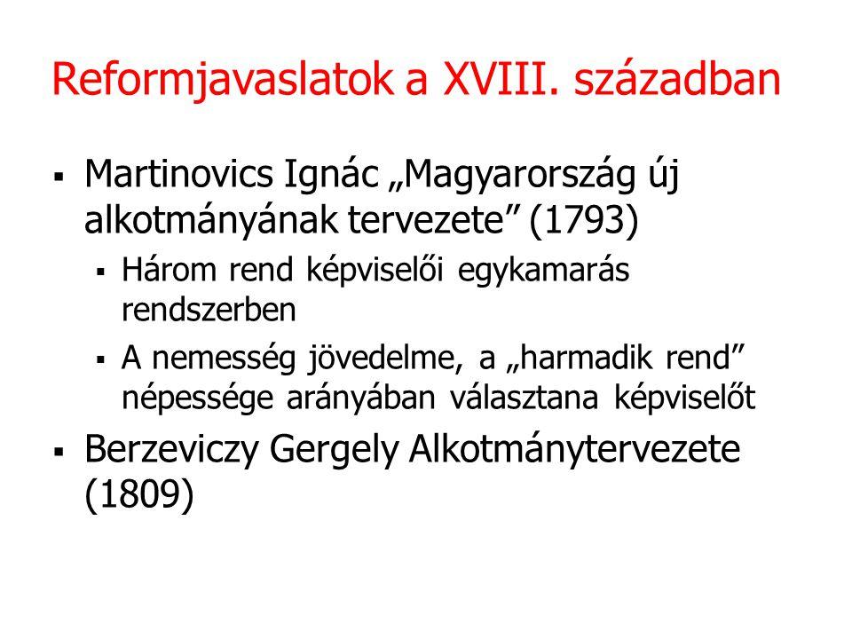 """Reformjavaslatok a XVIII. században  Martinovics Ignác """"Magyarország új alkotmányának tervezete"""" (1793)  Három rend képviselői egykamarás rendszerbe"""