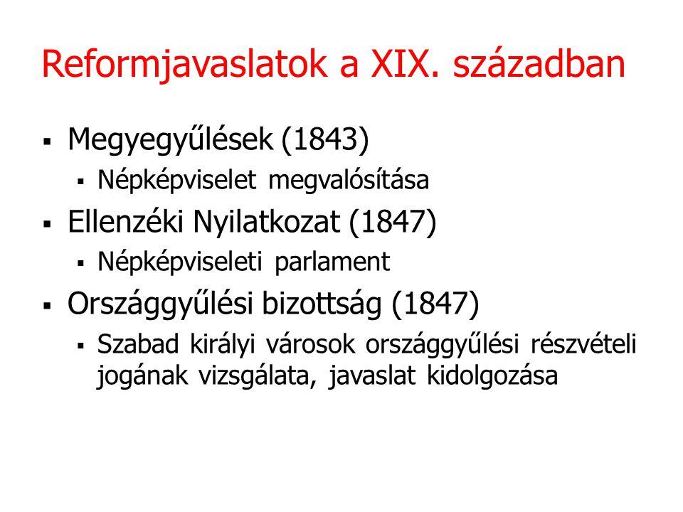 Reformjavaslatok a XIX. században  Megyegyűlések (1843)  Népképviselet megvalósítása  Ellenzéki Nyilatkozat (1847)  Népképviseleti parlament  Ors