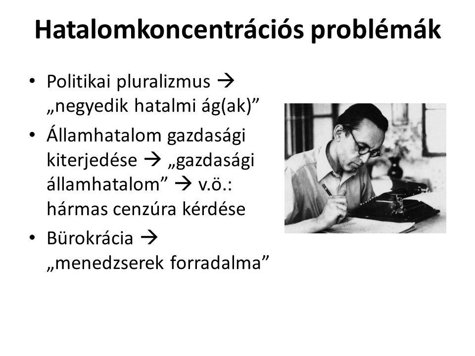 """Hatalomkoncentrációs problémák Politikai pluralizmus  """"negyedik hatalmi ág(ak) Államhatalom gazdasági kiterjedése  """"gazdasági államhatalom  v.ö.: hármas cenzúra kérdése Bürokrácia  """"menedzserek forradalma"""