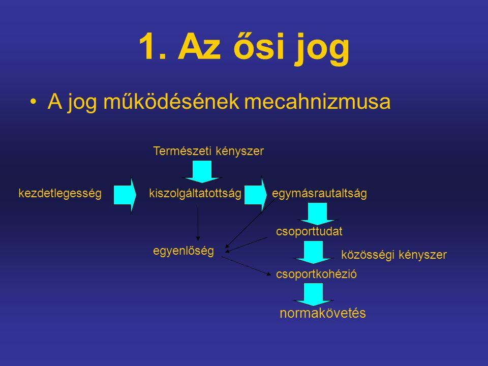 1. Az ősi jog A jog működésének mecahnizmusa kezdetlegességkiszolgáltatottságegymásrautaltság Természeti kényszer csoporttudat csoportkohézió normaköv