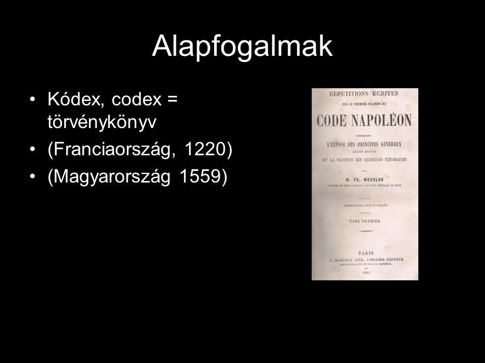 Alapfogalmak Jogrögzítés, jogösszefoglalás = a gyakorlatban élő eseti jog(szokásjog) és az írott jogszabályok összegyűjtése (Jogkönyvek)