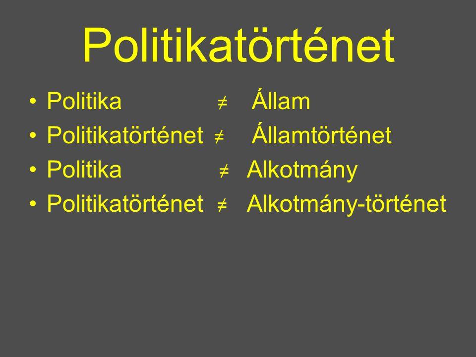 Politikatörténet Politika ≠ Politikatörténet ≠ Politika ≠ Politikatörténet ≠ Állam Államtörténet Alkotmány Alkotmány-történet