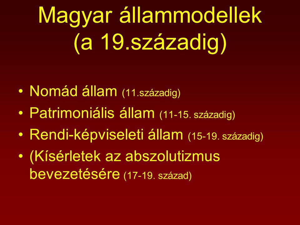 Nomád állam (11.századig) Patrimoniális állam (11-15. századig) Rendi-képviseleti állam (15-19. századig) (Kísérletek az abszolutizmus bevezetésére (1
