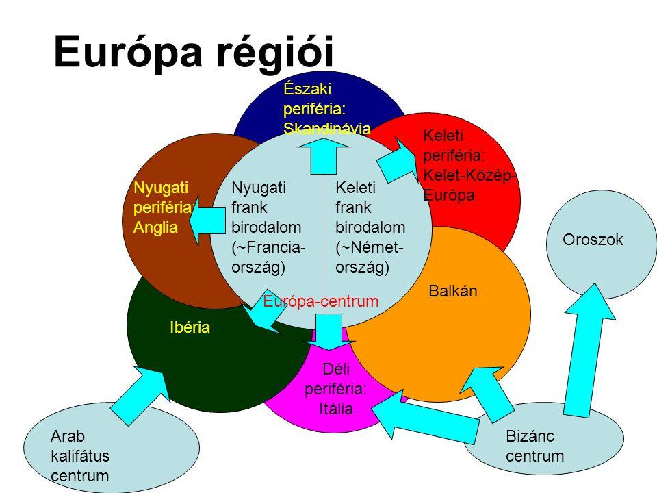 Európa régiói Nyugati frank birodalom (~Francia- ország) Keleti frank birodalom (~Német- ország) Nyugati periféria: Anglia Északi periféria: Skandinávia Keleti periféria: Kelet-Közép- Európa Balkán Déli periféria: Itália Ibéria Arab kalifátus centrum Bizánc centrum Oroszok Európa-centrum