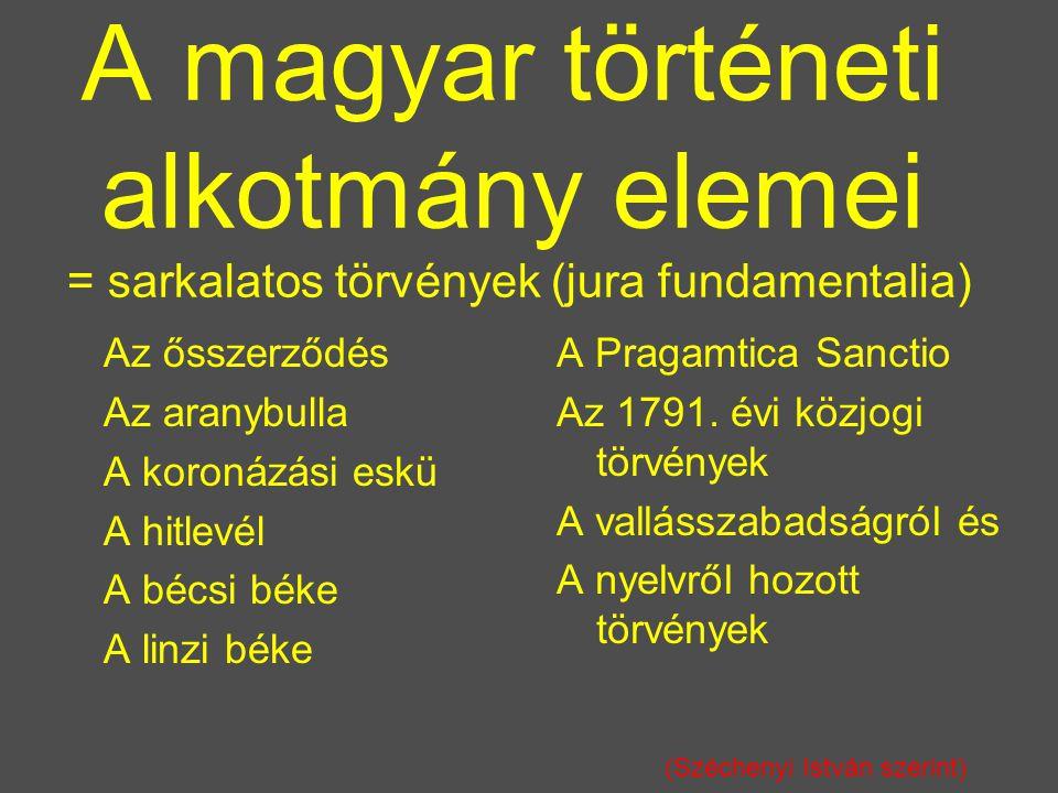 A magyar történeti alkotmány elemei = sarkalatos törvények (jura fundamentalia) Az ősszerződés Az aranybulla A koronázási eskü A hitlevél A bécsi béke