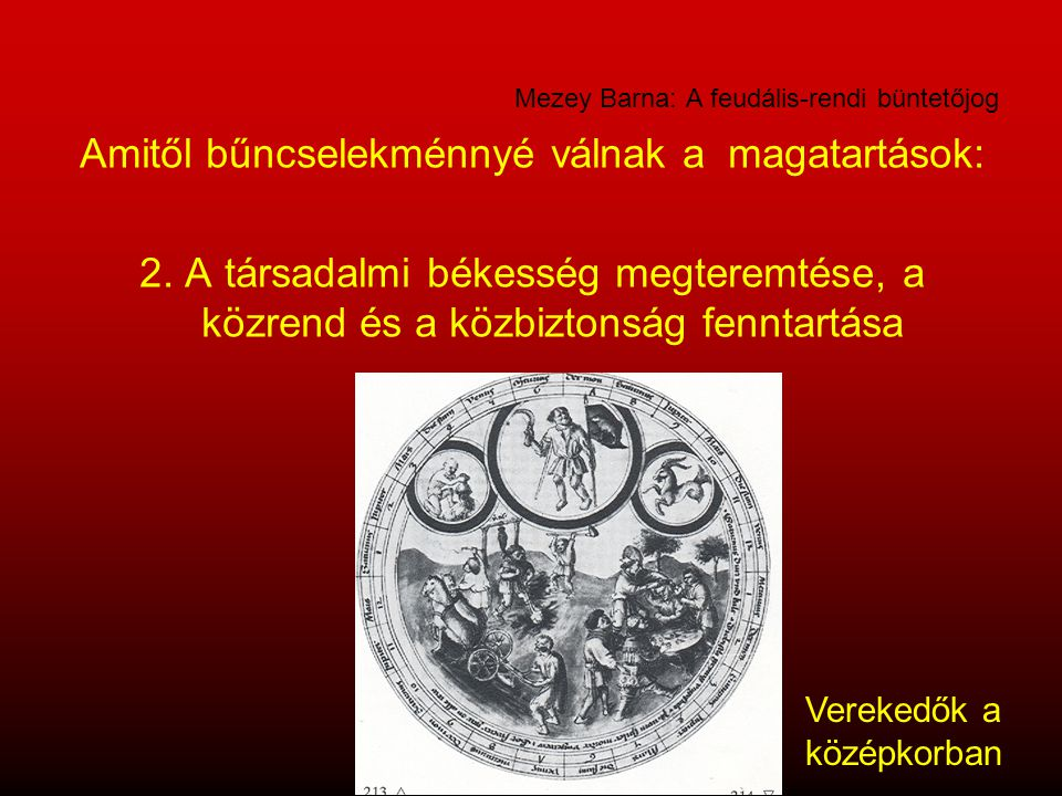 Mezey Barna: A feudális-rendi büntetőjog Amitől bűncselekménnyé válnak a magatartások: 2. A társadalmi békesség megteremtése, a közrend és a közbizton