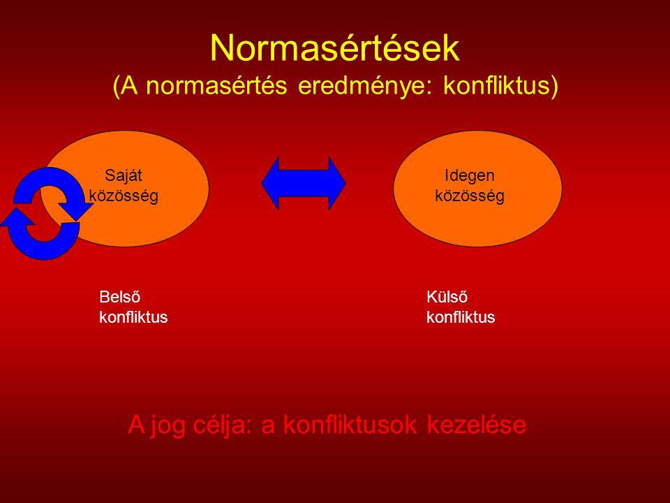 Normasértések (A normasértés eredménye: konfliktus) Saját közösség Idegen közösség Belső konfliktus Külső konfliktus A jog célja: a konfliktusok kezel