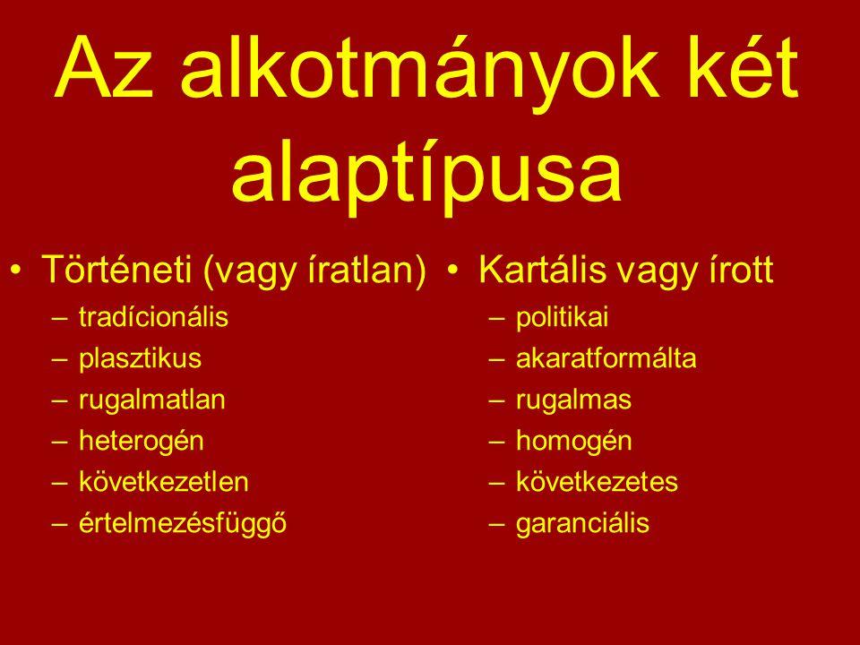 Az alkotmányok két alaptípusa Történeti (vagy íratlan) –tradícionális –plasztikus –rugalmatlan –heterogén –következetlen –értelmezésfüggő Kartális vag
