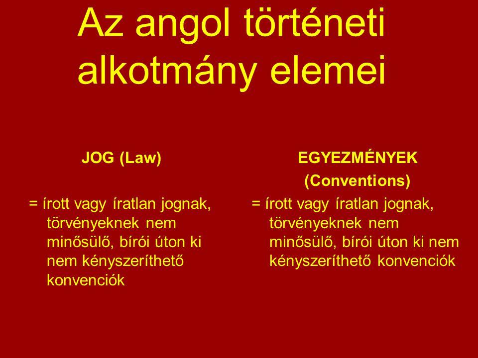 Az angol történeti alkotmány elemei JOG (Law) = írott vagy íratlan jognak, törvényeknek nem minősülő, bírói úton ki nem kényszeríthető konvenciók EGYE