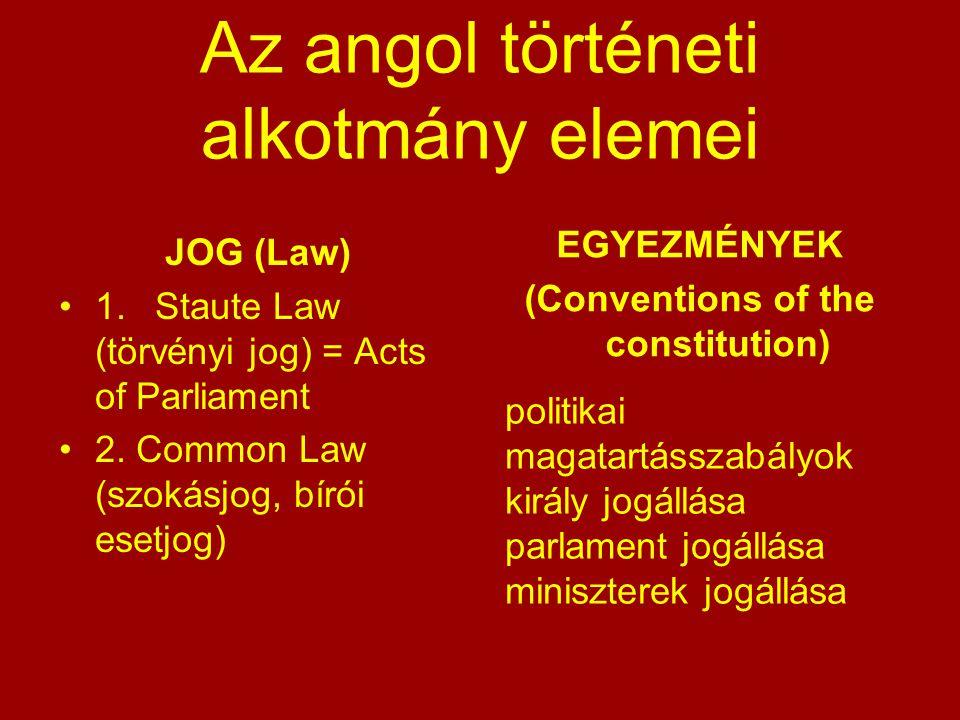 Az angol történeti alkotmány elemei JOG (Law) 1.Staute Law (törvényi jog) = Acts of Parliament 2. Common Law (szokásjog, bírói esetjog) EGYEZMÉNYEK (C