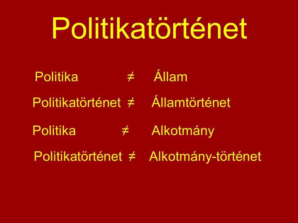 Politikatörténet Politika ≠ Állam Politikatörténet ≠ Államtörténet Politika ≠Alkotmány Politikatörténet ≠ Alkotmány-történet