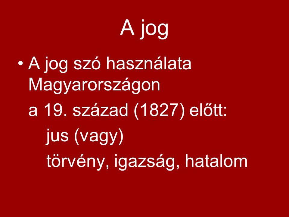 A jog A jog szó használata Magyarországon a 19. század (1827) előtt: jus (vagy) törvény, igazság, hatalom