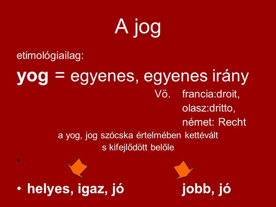 A jog etimológiailag: yog = egyenes, egyenes irány Vö. francia:droit, olasz:dritto, német: Recht a yog, jog szócska értelmében kettévált s kifejlődött