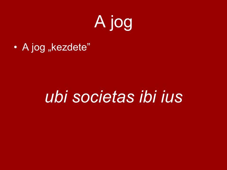 """A jog A jog """"kezdete"""" ubi societas ibi ius"""