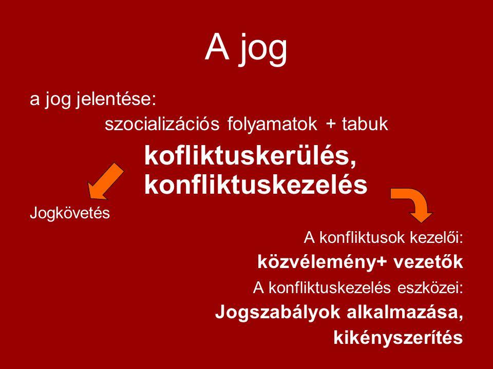 A jog a jog jelentése: szocializációs folyamatok + tabuk kofliktuskerülés, konfliktuskezelés Jogkövetés A konfliktusok kezelői: közvélemény+ vezetők A