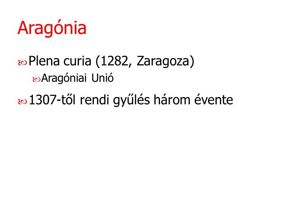 Aragónia Plena curia (1282, Zaragoza) Aragóniai Unió 1307-től rendi gyűlés három évente