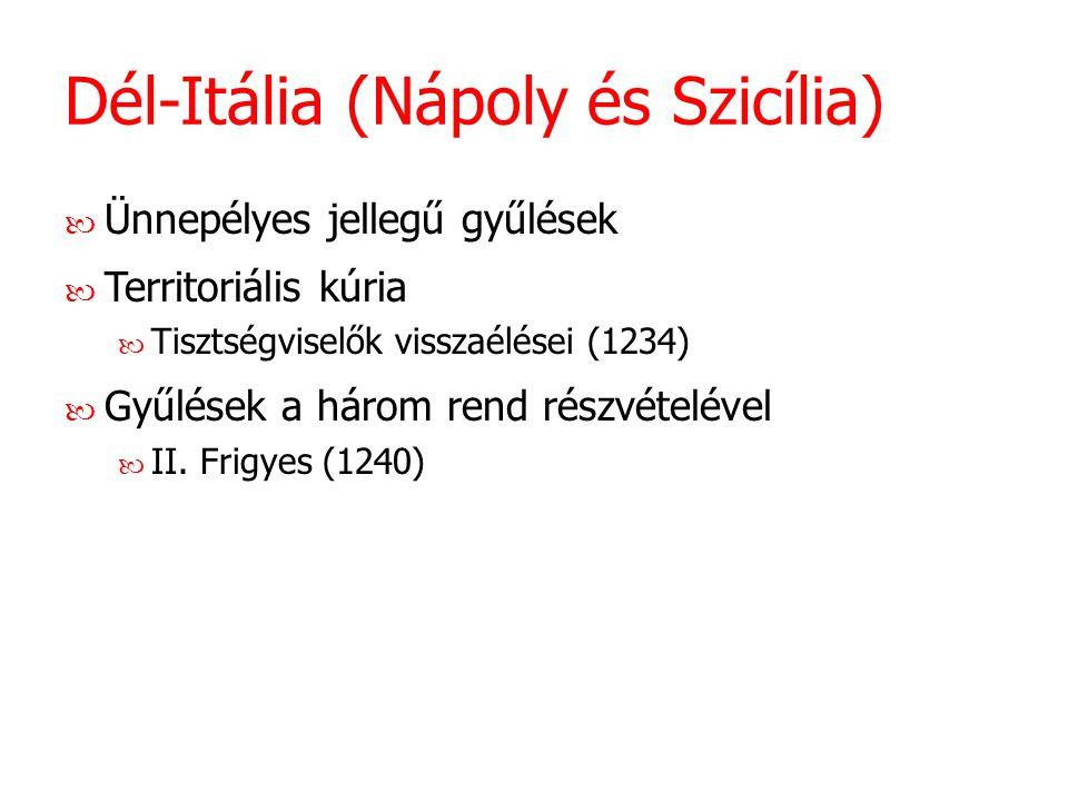 Dél-Itália (Nápoly és Szicília) Ünnepélyes jellegű gyűlések Territoriális kúria Tisztségviselők visszaélései (1234) Gyűlések a három rend részvételéve