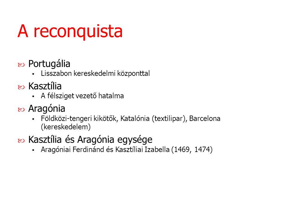 A reconquista Portugália  Lisszabon kereskedelmi központtal Kasztília  A félsziget vezető hatalma Aragónia  Földközi-tengeri kikötők, Katalónia (te