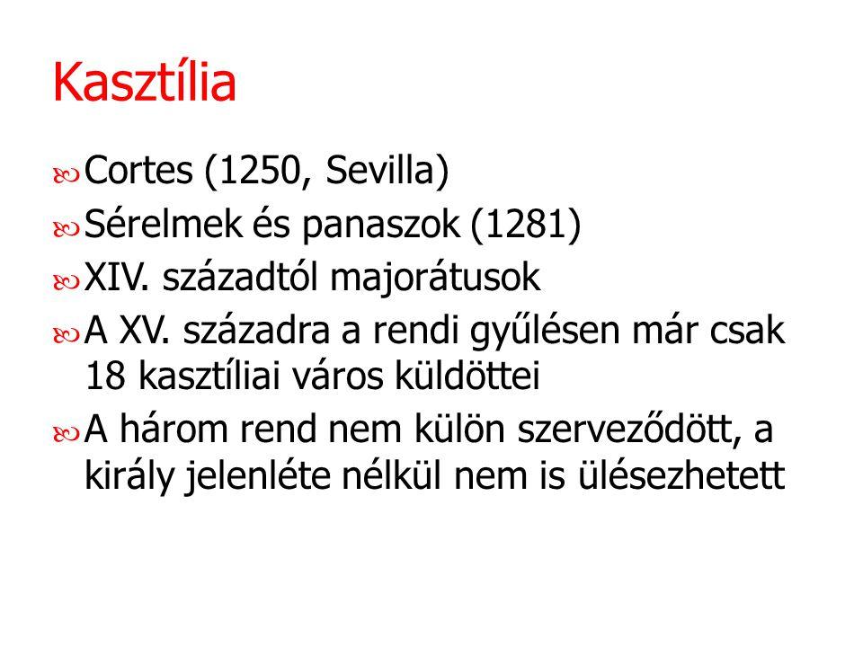 Kasztília Cortes (1250, Sevilla) Sérelmek és panaszok (1281) XIV. századtól majorátusok A XV. századra a rendi gyűlésen már csak 18 kasztíliai város k
